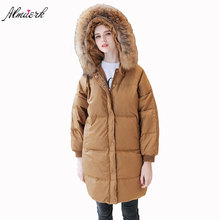 2017 new ladies thickening winter down jacket medium length coat coat trend big fur collar clearance large jacket L018(China)