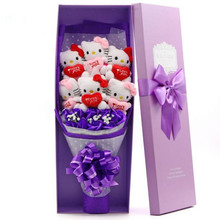 Popular Cute lovely Hello Kitty + Soap Roses Cartoon Bouquet Gift Flowers For Valentine's Day / Birthday /Graduation Gift(China)