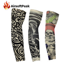 1 Pair/lot Elastic Arm Sleeves Temporary Tattoo Sleeve Body Arm Stockings Sleevelet Cool Body Art Skull Skeleton Arm Warmers(China)