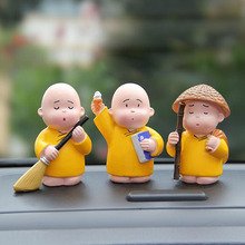 3pcs/set Buddhist Shaolin Monk Figurines Resin Crafts Car Home Decoration Ornaments Fengshui Crafts Creative Miniatures Gifts(China)