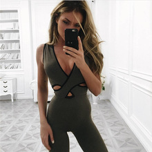 fitness jumpsuit bodysuit women deep V neck wrap bodycon bodies sexy open back overall female workout jumpsuit work out P1369