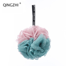 3pcs/lot Japanese style soft  mesh soft bath sponge with rope body exfoliating green PE mesh bath sponge ball/flower 4 color