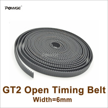 POWGE 5meters GT2 Timing Belt W=6mm Fit GT2 Pulley GT2-6 Rubber 2GT 6 Open Timing Belt 3D Printer Accessory High Quanlity 2GT-6(China)