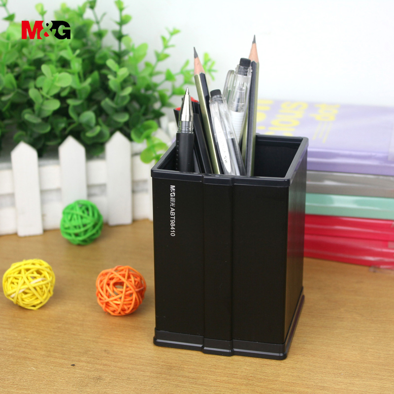 M&G brand quality elegant metal brushed surface square stand for pen pencil holder simple school office accessories stationery(China)