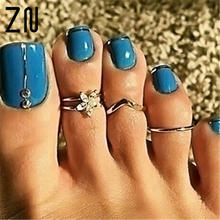 3 Pcs/set Retro Bohemia Foot Rings Female Carved Flower Silver Color Toe Rings Women Boho Beach Jewelry