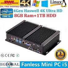 HTPC 4K Streams Win7 Mini PC Micro PC Embedded Intel Core i5 4200U 8GB Ram 1TB HDD Dual Antennas 2*COM+1*Lan+HDMI+VGA+USB3.0