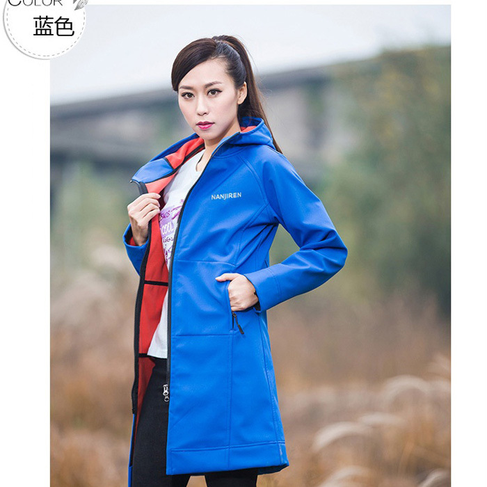Soft Fabric Middle Long Style Female Outdoor Hiking Jackets Sports Windbreaker  Double Color Avaliable for Custom and Wholesale<br><br>Aliexpress
