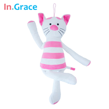 In.Grace plush and stuffed baby sleep calm cat pink with white kawaii soft sleeping comfort toy cats 45CM baby toys freeshipping