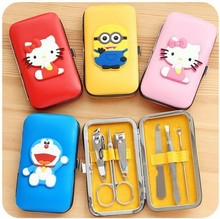 6pcs/Set  Cartoon Nail Clipper Kit Nail Tools Nail Care Scissor Tweezer Knife Ear pick Manicure Set Tools  Case