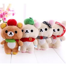 Valentine Rilakkuma Bear Kawaii Plush Toys Stuffed Toy,11CM Rilakkuma Soft Figure Doll,Key Chain Design,Bag Pendant Charm Toy