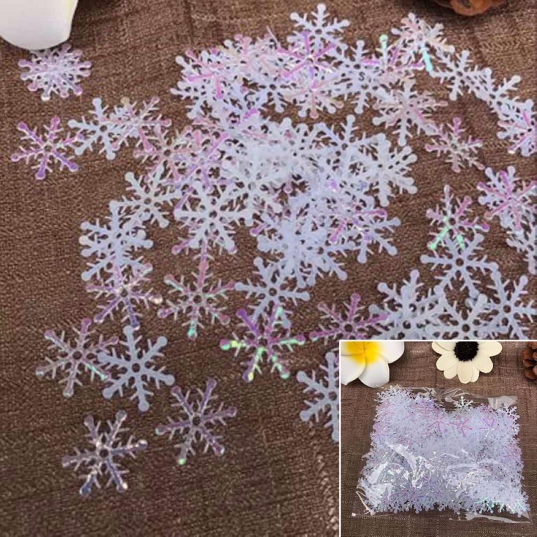 DIY 300pcs Christmas Snowflake Ornaments Tress Holiday Party Festival Home Decor