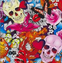 [Width 0.5M] Flower Skull With Butterfly Water Transfer Printing Film HS68-S, 0.5M*2M Hydrographic film,Pva Water Soluble Film