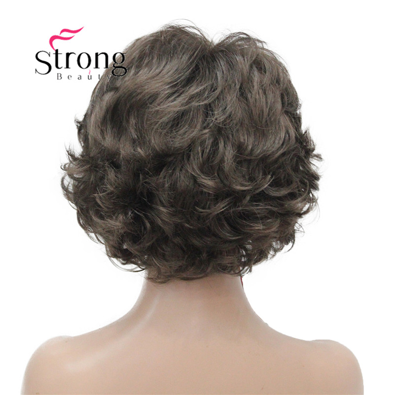 E-7125 #8 New Wavy Curly wig Medium Brown cloor 8# Short Synthetic Hair Full Women's wigs (4)