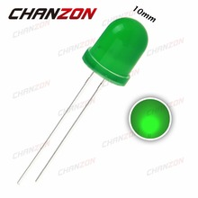 50pcs 10mm LED Green Diffused Light Diode 20mA DC 3V Round DIP 10 mm Light-Emitting Diode LED Lamp Through Hole Bulb Light 3V