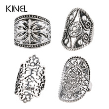 4pcs/Set Bohemia Midi Rings For Women Fashion Antique Tibetan Silver Plated Carved Knuckle Finger Bague Femme Vintage Jewelry