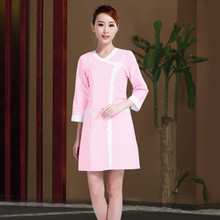 Hot Sale Free Shipping 2017 New style Elegant Massage Uniforms SPA Women Beautician Working Suit pink/purple/blue 3 colors