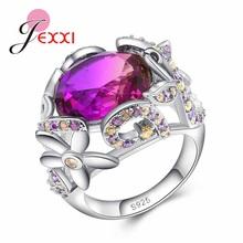 JEXXI Charm Fancy Shinning Pink CZ Zircon jewelry silver Color Wedding 925 Sterling Silver Rings for women Size 6 7 8 9 10(China)