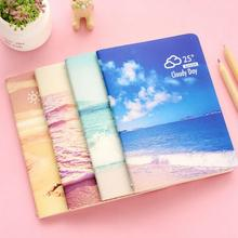 Sea and Sky Beautiful Scenery Photography Rainy Day Cover Notebook A6 Creative Hardcover Thin Sketchbook Diary Book for Students(China)
