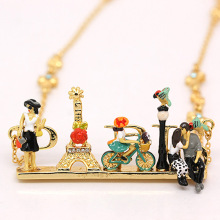 France Les Nereides Bicycle Girl Pendant Necklace For Women Enamel Fashion Jewelry Accessories Freeshipping(China)