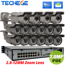 16CH 1080P NVR POE Kit W 16PCS 2.0MP POE IP Camera 2.8-12mm Varifocal Lens CCTV System Onvif/P2P Cloud Supports PC&Mobile View