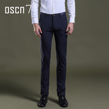 OSCN7 Slim Fit Brand Pants Men Solid Color Plus Size Formal Business Dress Pants Leisure Wedding Party Perfume Masculine