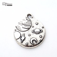 my shapeZinc Alloy Round Disc floating Charms Celestial Body Planet Moon And Star Pendants Necklace&Bracelet Jewelry Making(China)