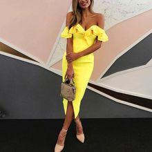 Buy Sexy Shoulder Dress Ruffle Bodycon Dress Slim Party Club Dresses Women Split high Waist Elegant Dresses for $8.23 in AliExpress store