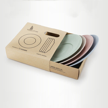 4Pcs/Set Round Flat Plate Wheat Straw Child Dish Dumpling Plate With Fruit Kitchen Tableware Food Container Storage Supply