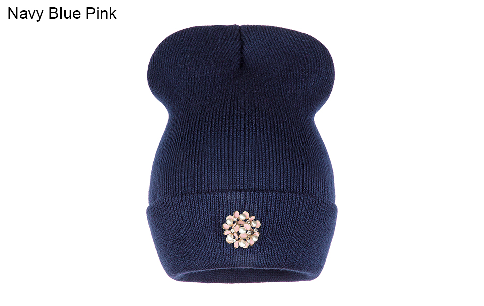Ralferty Winter Hats For Women Flower Beanies Skullies Female bonnet femme gorros cappelli Cap Beanie gorra Black Acrylic Hat 5