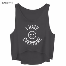BLACKMYTH Casual Tank Tops I HATE EVERYONE Letters Print Black Grey Summer Women's Loose Crop Shirts Sleeveless Fitness White