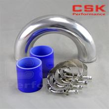 "SILVER 63mm 2.5"" 180 degree Aluminum Turbo Intercooler tube Pipe +silicon hose BLUE+ T bolt clamps"