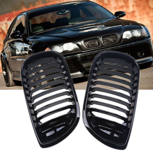 Cool 1 Pair Black Front Kidney Grill Grilles For BMW 3-Series E46 Touring 2001-2006 Facelift Car Front Hood Grille Car-styling
