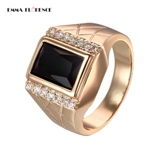 Emma Florence Fashion Brand Quality Bling Stainless Steel Black Engagement Band Cool Gold Color Men Wedding Rings Men Jewelry