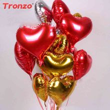 Tronzo 10Pcs Love Heart Foil Balloons 18Inch Wedding Decoration Happy Birthday Party Supplies Lovely Helium Marriage Globos(China)