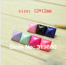 Free Shipping Mix Color 100PCS/ Bag DIY Pyramid Studs Rivet Spike 12*12mmBag Belt Leathercraft Shoes Bracelet Phonecase(China)