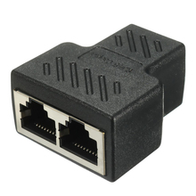 1 to 2 LAN Network Cable RJ45 Splitter Extender Plug Connector Adapter Black