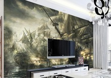 3d stereoscopic mural wallpaper Custom modern wallpaper for the bedroom Oil painting pirate ship 3d photo wall mural(China)