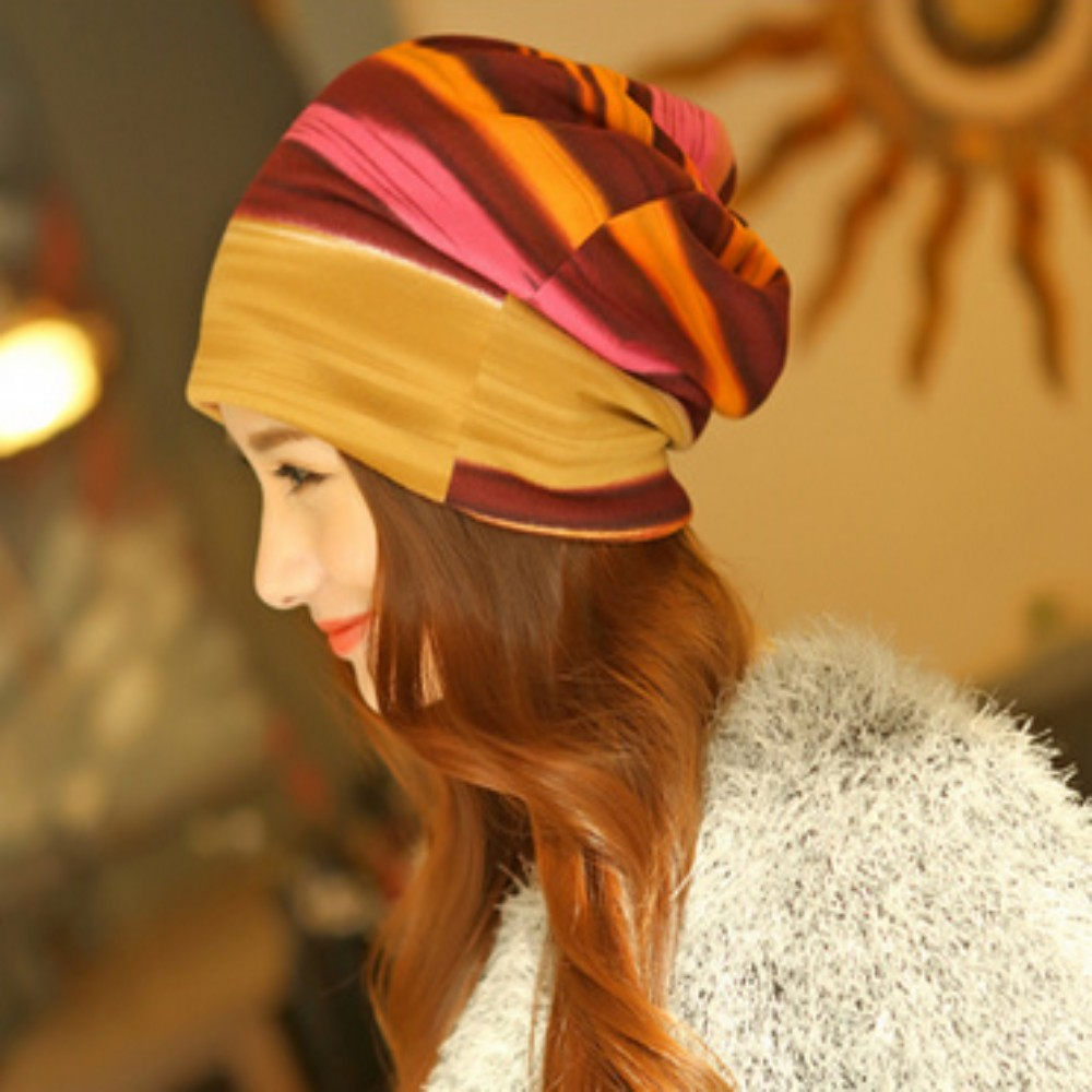 Winter Rainbow Double Warm Hat female Autumn Cap women 3 use multifunction scarf stripe Turban Hats garden capÎäåæäà è àêñåññóàðû<br><br><br>Aliexpress