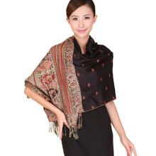 Hot Black Color Spring Winter Reversal Double-Sides Fancy Paisley Women's Pashmina Shawl Scarf Warm Bee 112408(China)