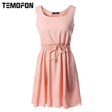 Buy TEMOFON Women Summer Casual Dresses Fashion Evening Chiffon Beach Party Mini Sexy Dress Plus Size Dress Female 2017 ELD170 for $7.07 in AliExpress store