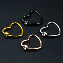 Showlove-2pcs Titanium Anodized CZ Gem Daith Heart Ear Helix Tragus Cartilage Piercing Lip Nose Rings Body Jewelry 16g(China)