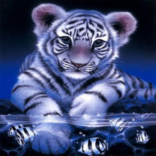 Full Diamond Painting Cross Stitch 3D diy Diamond Embroidery kits Mosaic tiger and fish picture stickers Home decor gift(China)