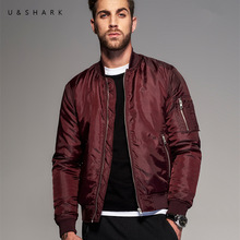 U&Shark Fashion Designer Waterproof Pilot Flight Jacket Men Jaqueta Masculina MA-1 Coat 2016 Fall Casual Red Bomber Jacket Male