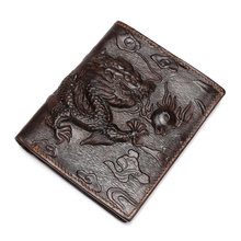 3D Design Chinese Style dragon Pattern Retro bifold Wallet leather Men Genuine Leather Men's Wallets Real leather Purse(China)