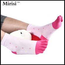 SIX Pairs MIRISI Rose red and Pink Patchwork with Little Dot Middle Tube Style Sweet Style woman Toe socsk(China)