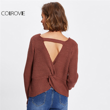 COLROVIE Twist Back Crop Sweater Women Sexy Cut Out Pullover Fall 2017 Fashion Brown Knitted Jumper Loose V Neck Cute Sweater(China)