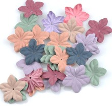 mixed Artificial fabric Flowers Cap for Wedding Decoration DIY scrapbooking die cut 50pcs 35mm CP1560(China)