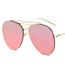 Wholesale Oversized Men's Sunglasses Big Face Women's Fashion Metal Sunglasses Red Brand Designer Round Sung Glasses China Sale