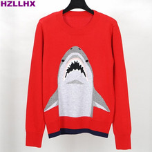 HZLLHX women Autumn and winter news cute shark pattern sweater 50% wool pullovers ladies chic red jumper knitting top fashion(China)