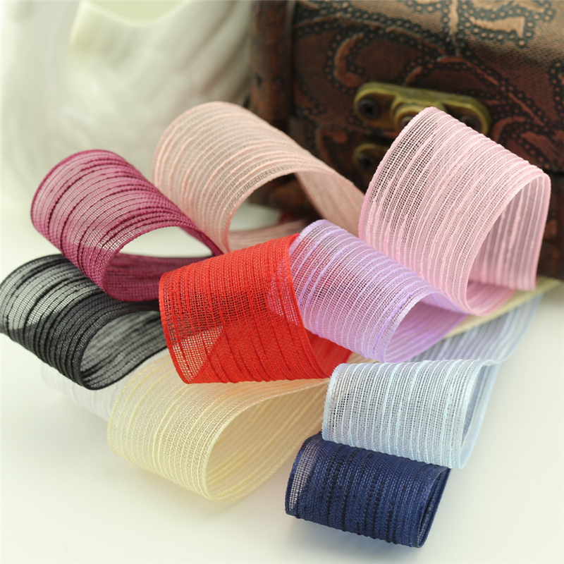 5meter/lot 25mm embossed snow yarn transparent ribbon handmade hair accessories clothing packaging new material T-009